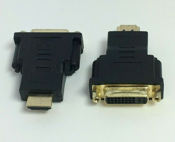LOT OF 2 DVI D 24+5 Pin Female to HDMI Male Video Adapter Converter For HD!!