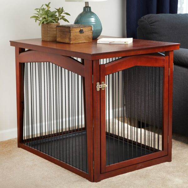 Pet Crate End Table Dog Furniture Kennel Indoor Cage Wood Wooden Side Fence Gate