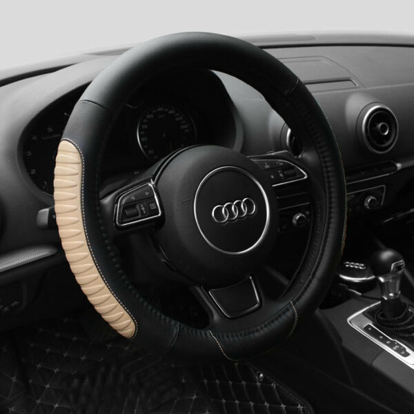 15'' Car Truck Steering Wheel Cover PU Leather Universal Fit Protection MBeige