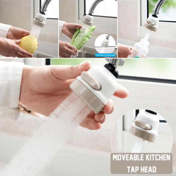Moveable Kitchen Tap Head 360° Rotatable Faucet Water Saving Filter Sprayer US