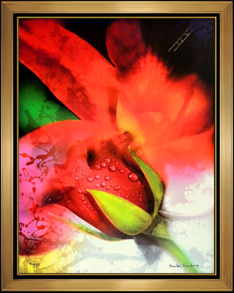 Large Framed YANKEL GINZBURG Flower Painting Mixed Media On Canvas Signed Art