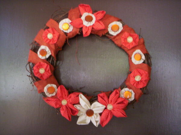 Button Fabric flower Burlap handmade wreathMother's day wreathSpring wreath