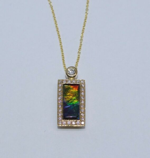 14k Yellow Gold AAA Rectangle Ammolite And Round Diamond Pendant And Chain