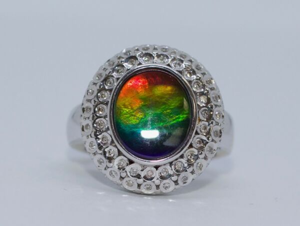 14k White Gold AAA Oval Ammolite And Round Diamond Double Halo Ring Size 7.25