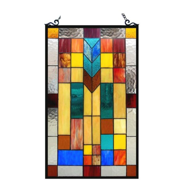 Stained Glass Chloe Lighting Mosaic Design Window Panel CH1P025AM26 GPN 16 X 26quot;