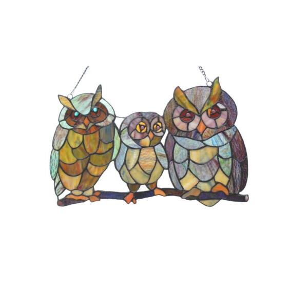 Stained Glass Chloe Lighting Owls Family Window Panel CH1P708BA17 GPN 11X17quot; New