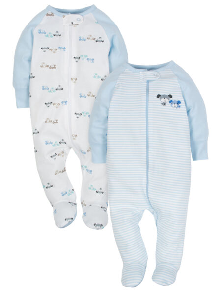 Wonder Nation Baby Boy's 2 Pack Sleep N Plays Sizes Newborn 0-3 Months Puppies