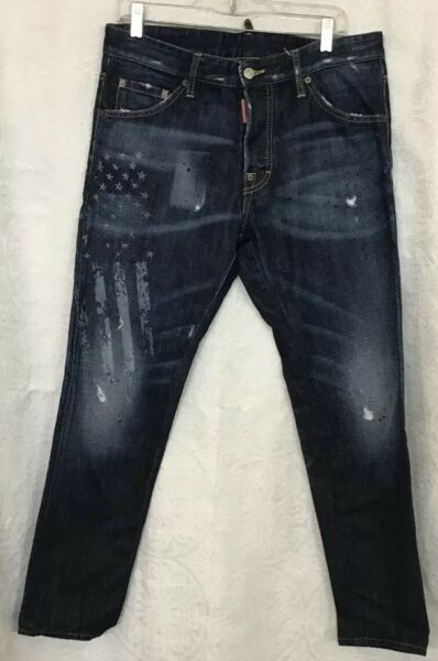 Dsquared Jeans Mens Blue Stars Distressed Faded Straight Leg Button Fly 34 46 $175.00