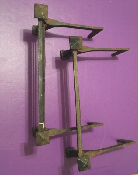 Set of Antique Metal Fireplace Andirons Great!