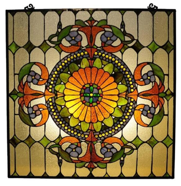 Stained Glass Chloe Lighting Victorian Window Panel 25 X 25quot; Handcrafted New
