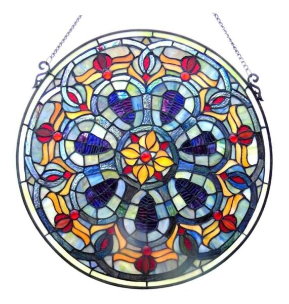 Stained Glass Chloe Lighting Victorian Window Panel 20quot; Diameter Handcrafted New