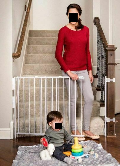 Extra Tall Top Of Stairs Gate w Mounting Kit White 34quot; 55quot; wide x 35quot; tall Safe