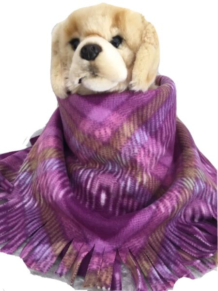LAVENDER PLAID Fuzee Fleece Dog BlanketsSoft Pet Blanket Travel Throw $14.40