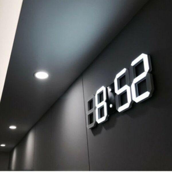 Modern Digital 3D White LED Wall Clock Alarm Clock in White