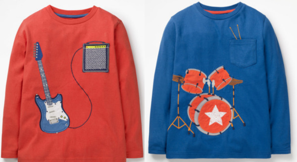 Mini Boden boys top 2 3 4 5 6 7 8 9 10 11 12 years music applique NEW RRP $30