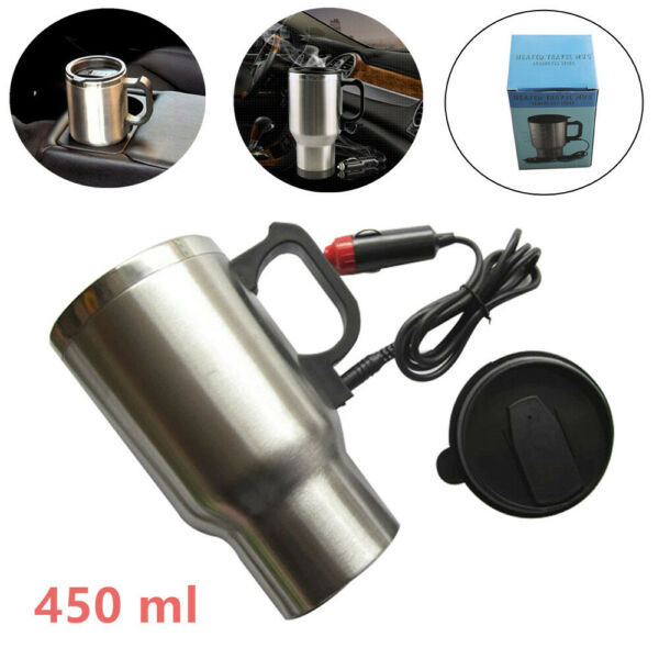 450ML Stainless Steel 12V Car Electric Heated 65 ° C Hot Water Kettle Bottle Cup