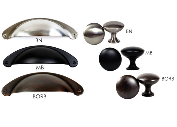 Kitchen Cabinet Hardware Cup Pulls Handles and Round Mushroom Knob by KPT