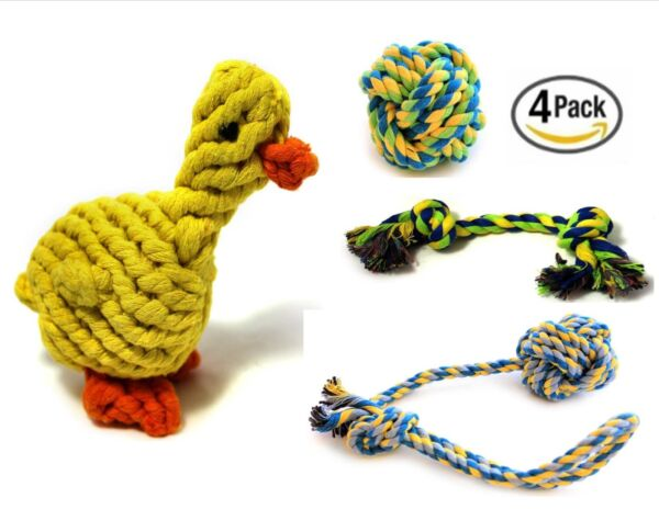 Ropeez Dog Chew Cotton Rope Toys Puppy Teething Toy Small Dogs 4 Pcs - Duck