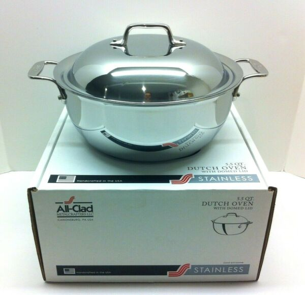 All-Clad 5.5-Quart Dutch Oven with Domed Lid - Tri-Ply Stainless - 4500 -NEW