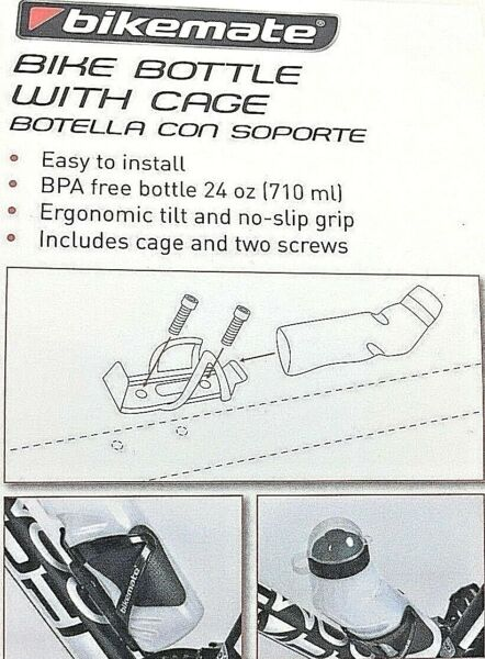 BIKEMATE Bike Water Bottle With Cage 24 oz Universal Fit BPH Free $8.50