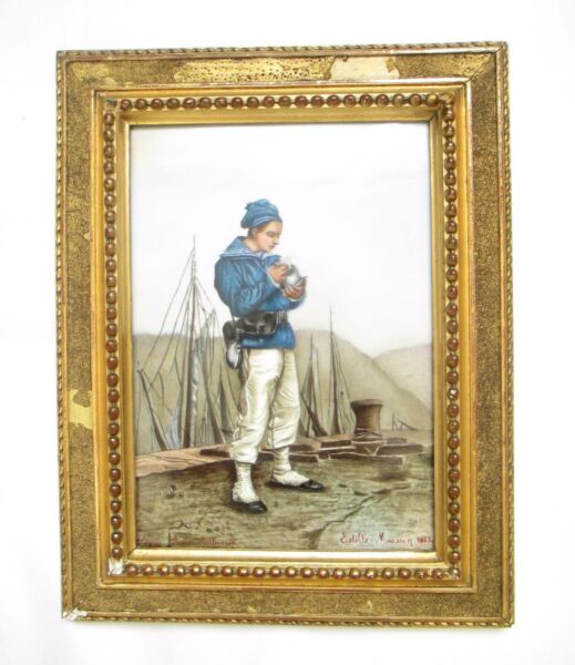 A Large Antique Porcelain Plaque Depicting a Sailor