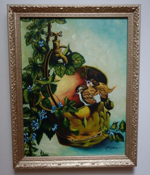 Orig Oil Canvas Painting After Raymond Ching. Wrens on Brass Pail by Jun Guinto
