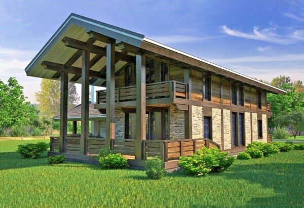 PREFAB TIMBER FRAME KIT ENGINEERED WOOD HOUSE DIY BUILDING CABIN HOME GLULAM GLT