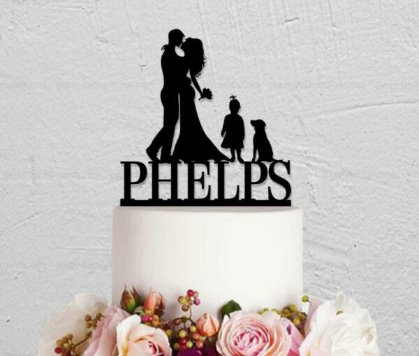 Couple Wedding Cake Topper with Girl Dog Customized Last Name Party Decorations $12.99