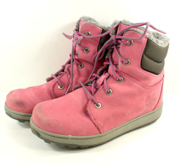 Timberland Pink Suede Hiking Ankle Boots Girls Junior Sz 4 Sherpa Fleece Lined $17.95