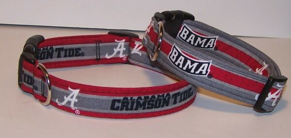 Wet Nose Designs Dog Collar Made With University of Alabama Fabric Stripes $8.99