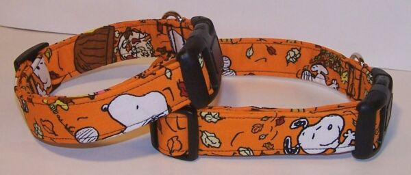Wet Nose Designs Dog Collar Handmade With Fall Fun Snoopy Fabric Autumn Leaves $8.99