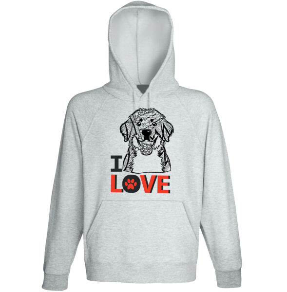 Bernese mountain dog - I love - NEW COTTON GREY HOODIE