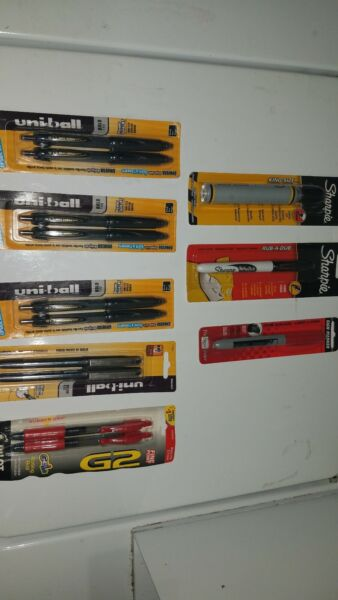 8 uniball pens 3 markers and 2 pilot pens