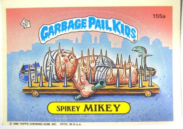 GARBAGE PAIL KIDS SPIKEY MIKEY - 155a - IN PLASTIC SLEEVE - VGC - Free Ship