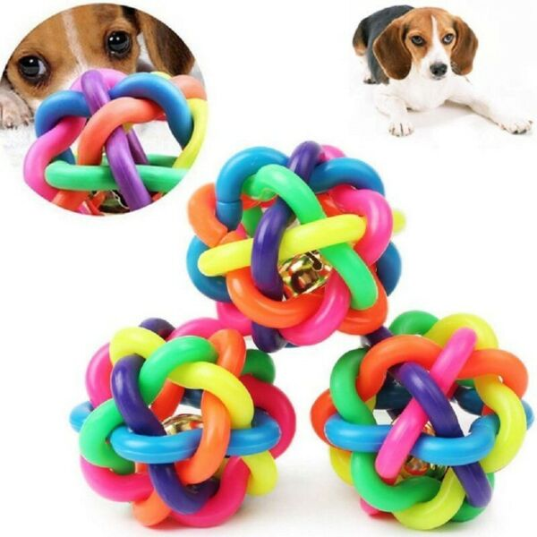 Pet Dog Colorful Non-toxic Chew Toy wBell Puppy Funny Interactive Exercise Ball