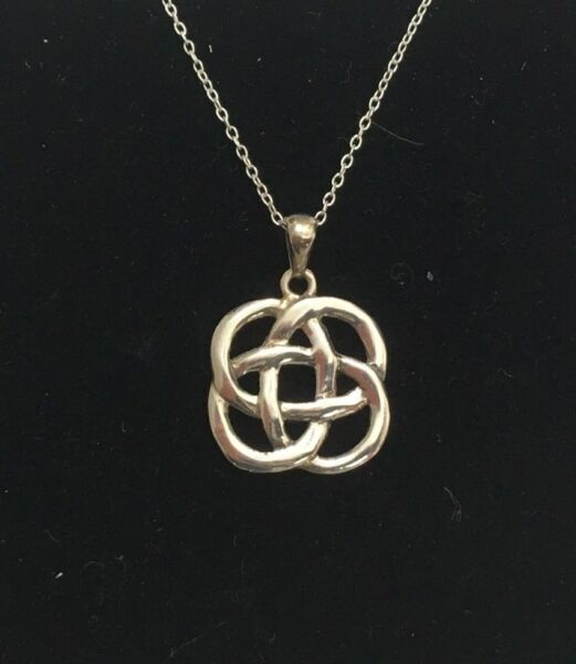 STERLING SILVER CELTIC KNOT PENDANT NECKLACE 18 in. marked 925