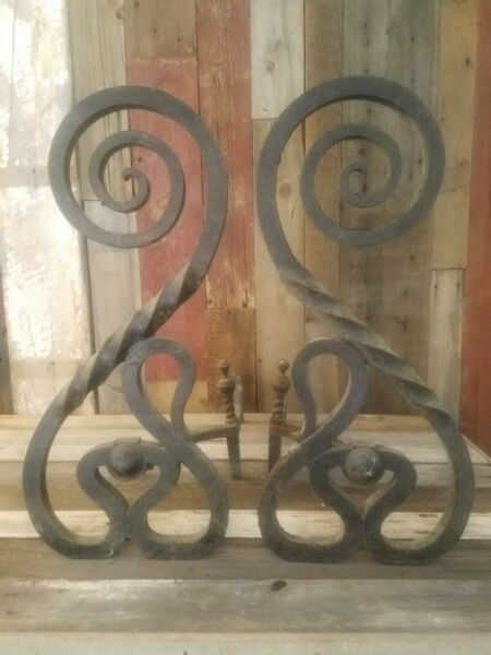 HEAVY Antique Wrought Iron Andirons  Handcrafted Each 23.5 inches tall Beautiful