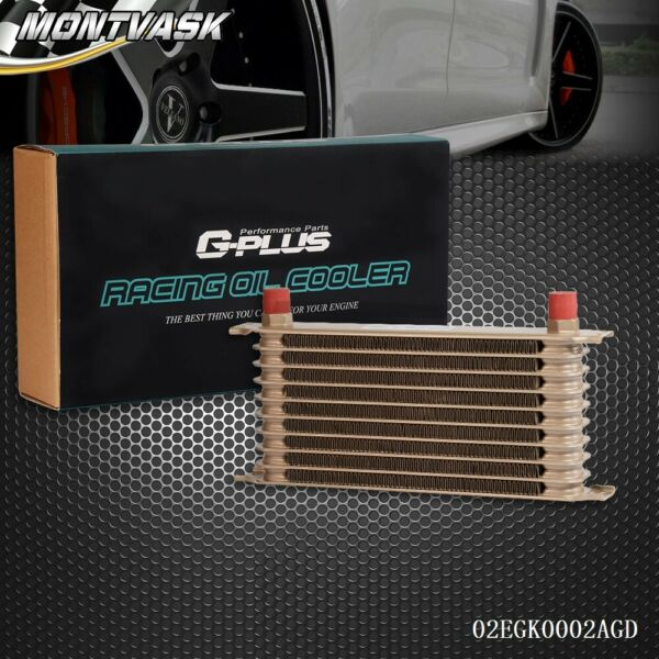 Universal 10 ROW AN10 Engine Transmission Oil Cooler Gold For Japanese Cars