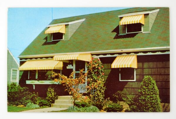 FLEXALUM ALUMINUM AWNINGS POSTCARD 1960#x27;s Aluminum Awning Advertising Striped