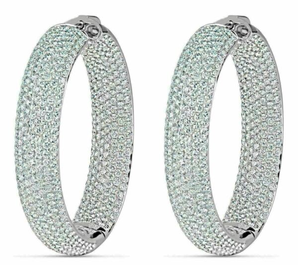 ESTATE LARGE 15.70CT DIAMOND 18KT WHITE GOLD 3D INSIDE OUT HOOP HANGING EARRINGS