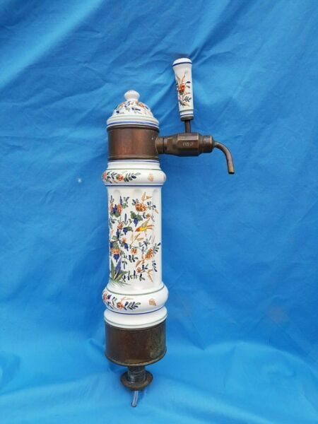 Antique French Delft style ceramic bronze has a tap 18