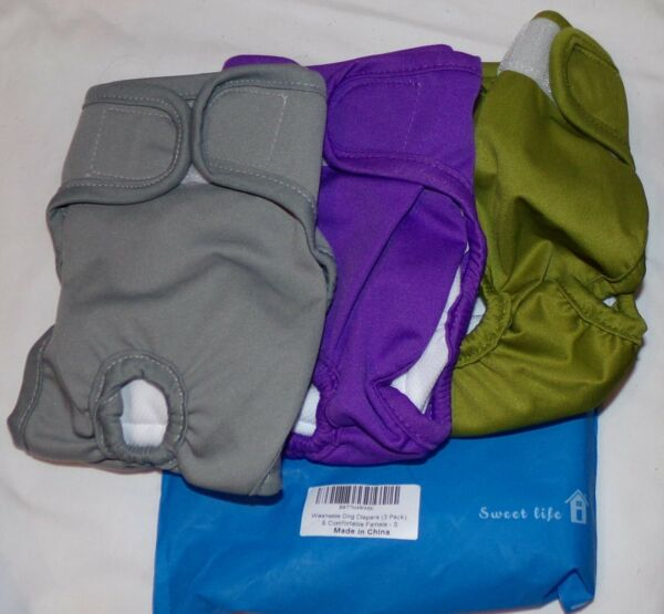 Dog Washable Diapers S Small 3 pcs New Gray Green Purple Female $17.91