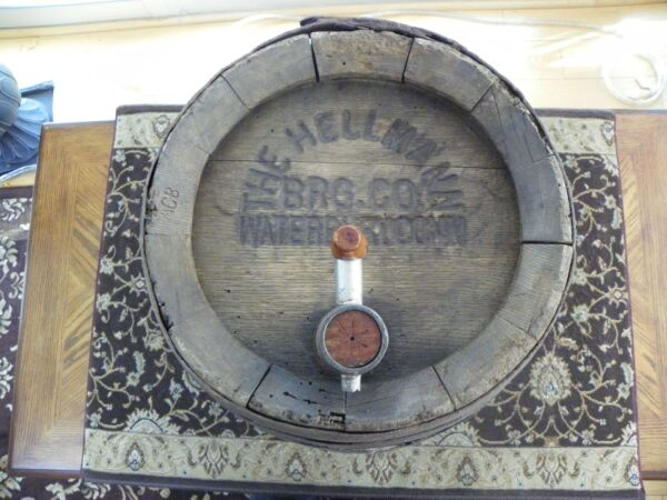 1895 Hellmann Brewery Wood Beer Barrel Keg Waterbury Conn. Pre-Prohibition