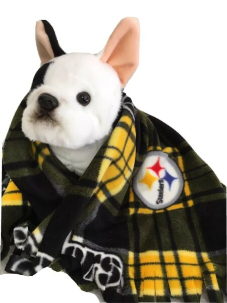 STEELERS PLAID Fuzee Fleece Dog Blankets Soft Pet Blanket Travel Throw Cover $18.00