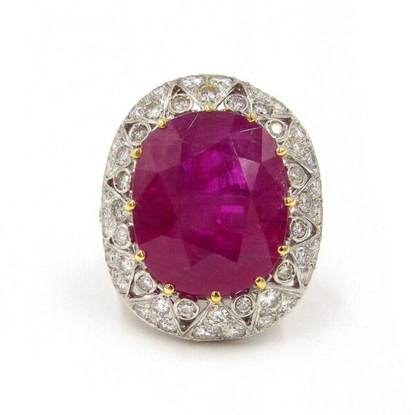 25.16ct Burma Ruby Diamond Platinum Ring SZ 6.25 AGL Certificate