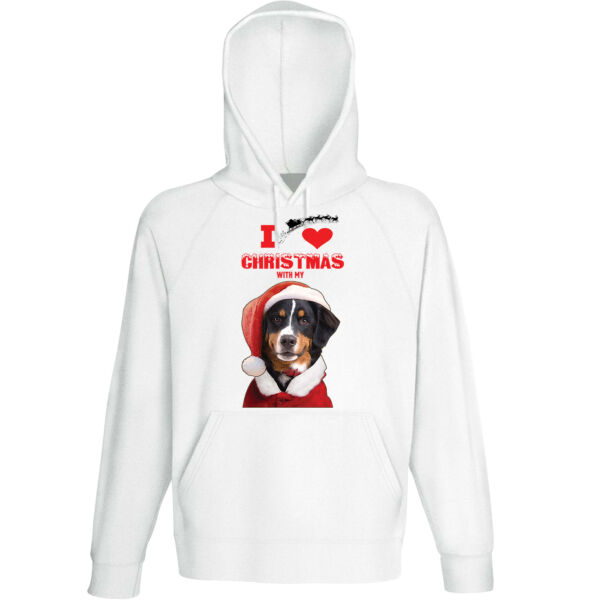 I Love Christmas With My Bernese Mountain Dog Santa - COTTON WHITE HOODIE