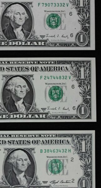 Three $1 CU Web Press Federal Reserve Notes 2 1988A 1 1993 all ending in 32