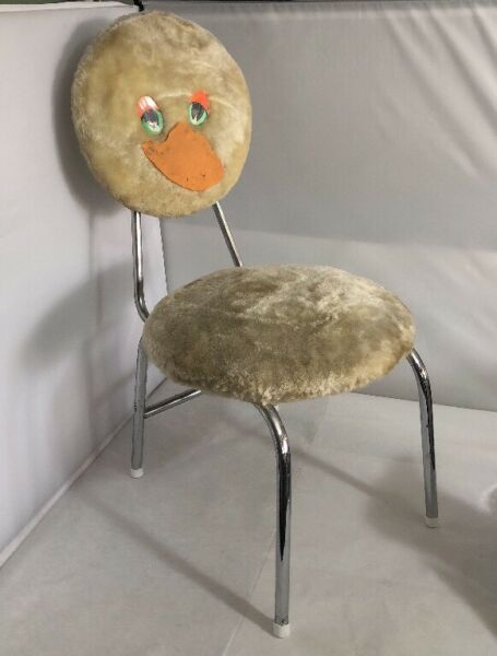 Vintage Novelty French Child#x27;s Folding Duck Chair Retro 1960s 1970s