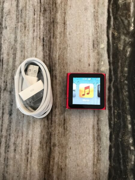 Apple iPod nano 6th Generation Red (8 GB) Good Condition New Batteryscreen
