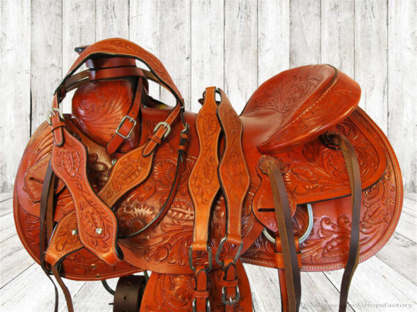 16 17 PREMIUM TOOLED RANCH ROPING ROPER WADE TREE HORSE TRAIL WESTERN SADDLE